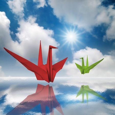 Red and Green Fold Paper Bird in the Sky photo