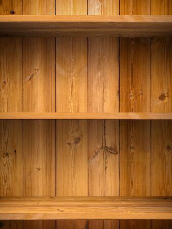 Empty wood shelf on wooden wall Stock Photo