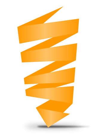 Ribbon orange sign with arrow Vector