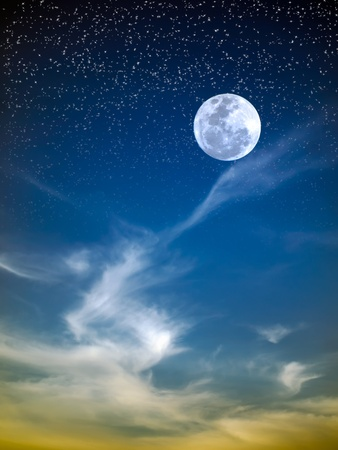 White cloud dragon and full moon in night sky