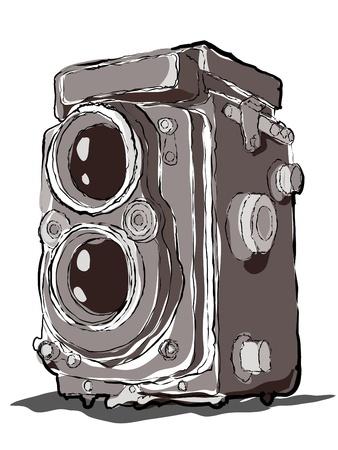 Alte Twin Lens Jahrgang Kamera Zeichnung Standard-Bild - 9510416