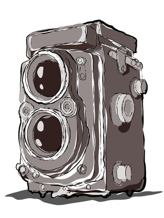 tvillingar: Old Twin Lens Vintage Camera Drawing
