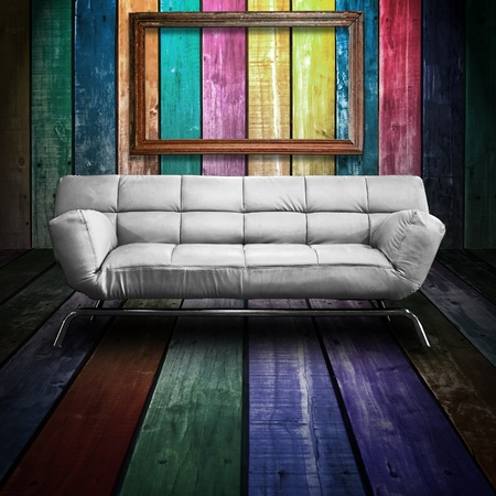 White leather sofa in Colorful Wood Room Stock Photo - 9596127