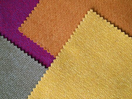 a blind: Sample four colors cotton for making furniture Stock Photo