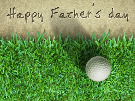 Father day golf ball on green grass photo
