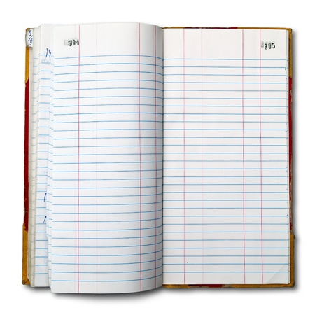 Register book for the old accounts open two pages on white background Stock Photo - 9678711