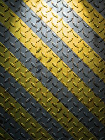 metal grid: Floor steel plate and yellow line with top light