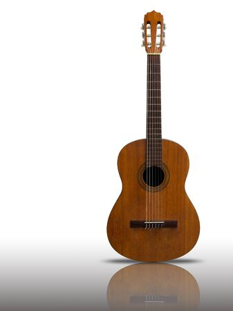 nylon string: Front Old classic guitar on reflect floor