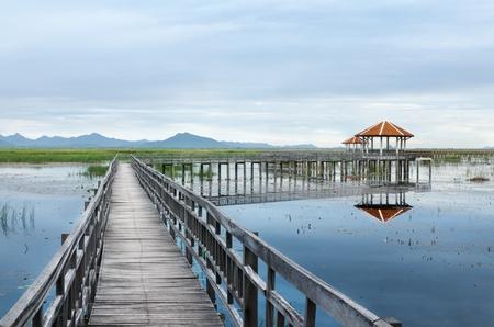 Boardwalks on the lake in the national park, Sam Roi Yod National Park, Thailand Standard-Bild