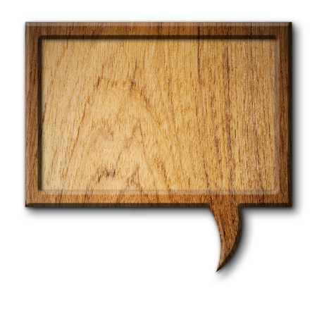 wood sign: Teak Wood sign speech Rectangle on white background with shadow Stock Photo