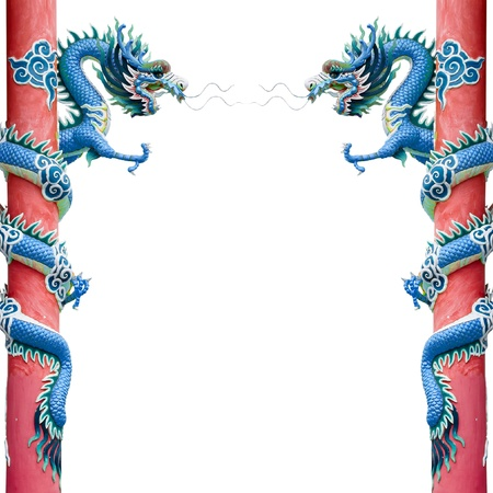Blue Chinese Dragon Wrapped around red pole on White background photo