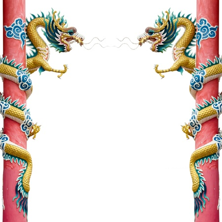 Twin Golden Chinese Dragon Wrapped around red pole on White background
