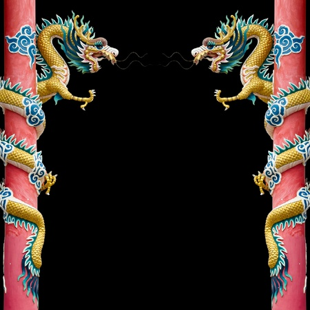 dragon head: Twin Golden Chinese Dragon Wrapped around red pole on black background