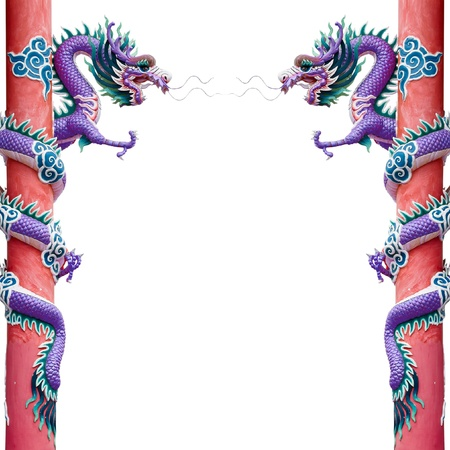 Twin Purple Chinese Dragon Wrapped around red pole on White background photo