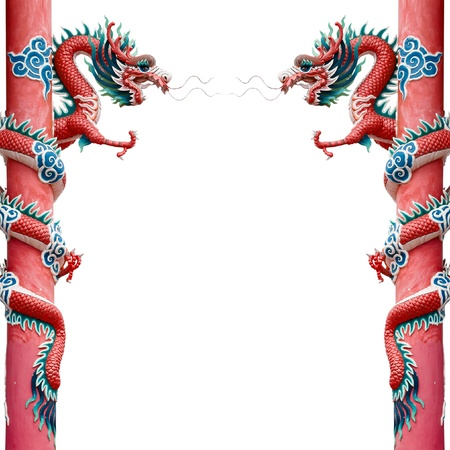 Twin Red Chinese Dragon Wrapped around red pole on White background photo