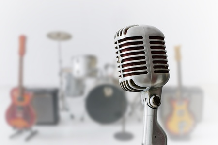 musician: Old Chrome microphone and Blur musical instrument background