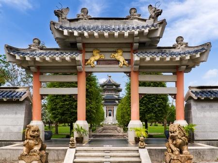 muralla china: Vista frontal de la entrada del jard�n de estilo chino