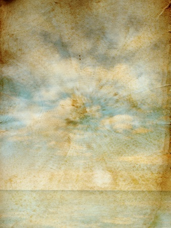 Sky and sea on texture of old grunge paper