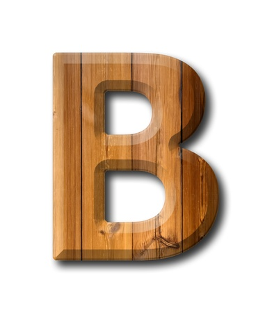 Natural Wood style Letter alphabet on White background with shadow Stock Photo - 10998931
