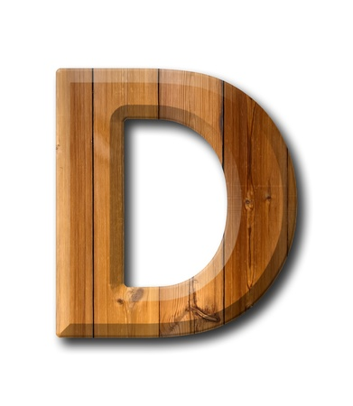 Natural Wood style Letter alphabet on White background with shadow