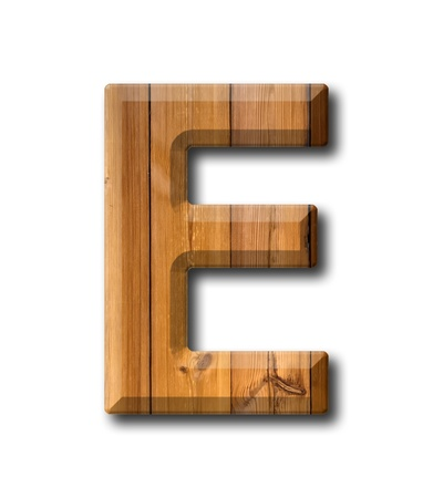 office block: Natural Wood style Letter alphabet on White background with shadow