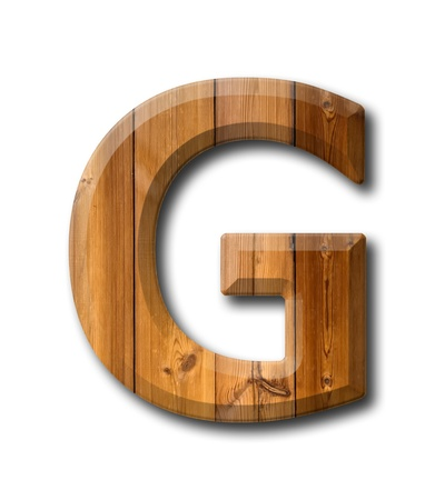 Natural Wood style Letter alphabet on White background with shadow photo