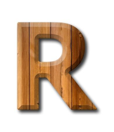 Natural Wood Art Buchstaben-Alphabet auf weißem Hintergrund mit Schatten Standard-Bild - 10998928