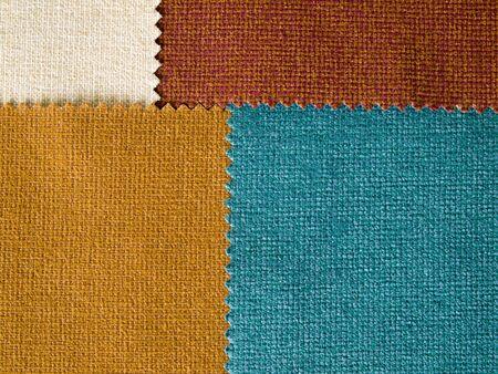 earth tone: Texture of Four Fabric Earth Tone color Sample Stock Photo