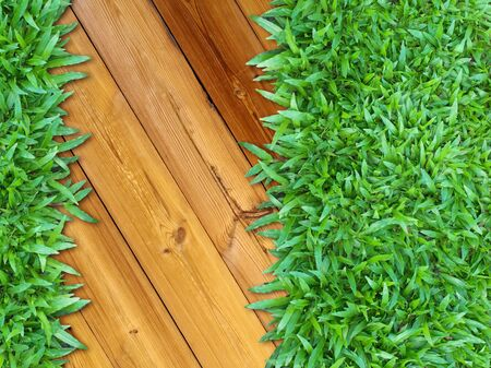 More Right Green Grass on Wood for web page background photo