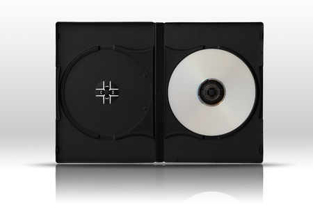 White DVD Disc one side in Double Black plastic case on white floor Stock Photo - 11242835