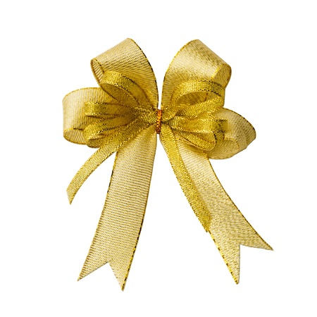 gold bow: Gold ribbon bow for gift box on white background