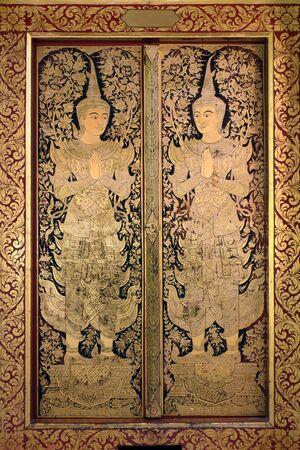 traditional thai door: Thai ancient art Gold angel painting on church door in Wat phra & Traditional Thai Door Stock Photos Images. Royalty Free ... Pezcame.Com