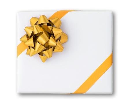 fiocco oro: Oro stelle e nastro linea di Croce sulla scatola di carta bianco e ombra