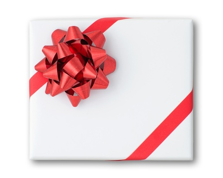 love box: Red star and Oblique line ribbon on White paper box and shadow Stock Photo