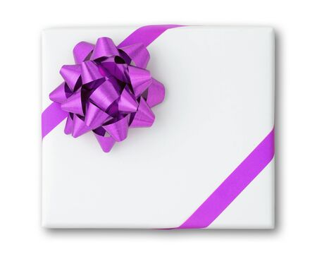 Purple star and Oblique line ribbon on White paper box and shadow photo