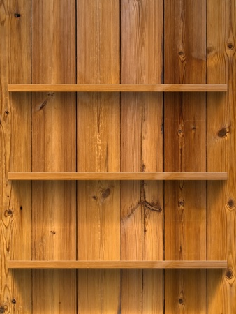 Empty three wood shelf on wood decorative wall photo