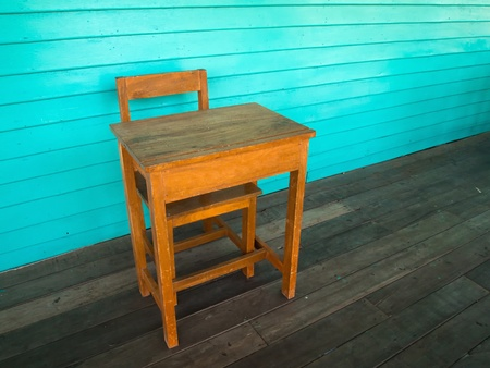 Old wood desk and chair on wood floor and light green wall