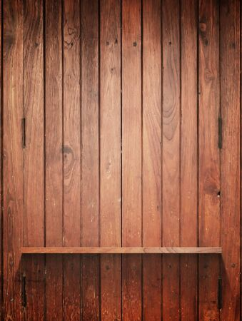 Empty Wood Shelf on wall with light and shadow Stock Photo - 11914280