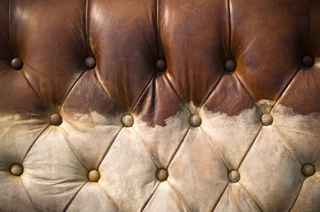 Texture of Old worn brown leather sofa for background photo