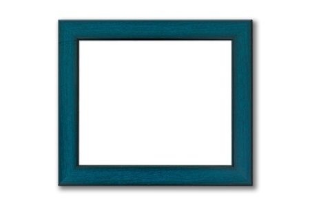Green wood picture frame on white background with shadow photo