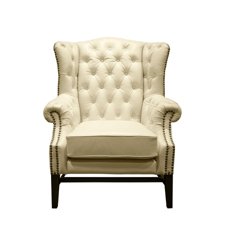 chesterfield: Front of Classic Chesterfield luxury White Leather armchair on White Stock Photo