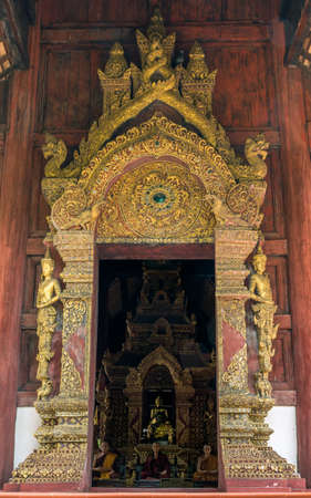 Entrance of the church at Phra Singh Temple, Chiang Mai, Northern Thailand Stock Photo - 13651988
