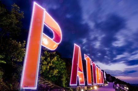 pattaya thailand: PATTAYA city Lighting sign and Purple sky