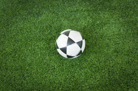 Black and white soccer ball on Artificial turf football field Stock Photo - 13951119