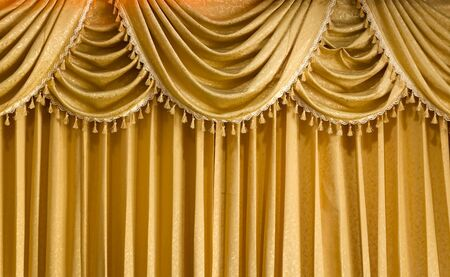 Light Gold fabric Curtain for web page background photo