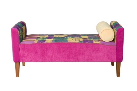 isolated chair: Front of Pink Fabric Sofa on white background isolated with path