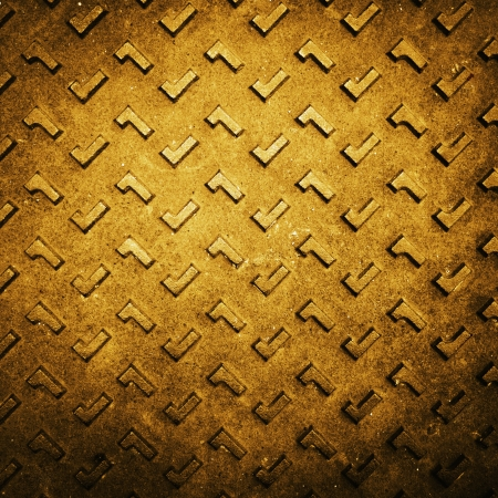 Texture of Gold Grunge Rusty Steel Floor Plate for Background photo