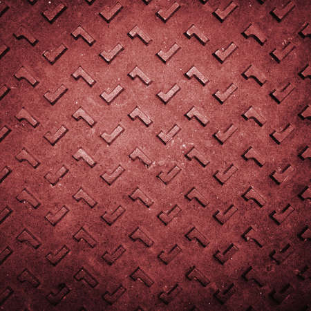 Texture of Red Grunge Rusty Steel Floor Plate for Background photo