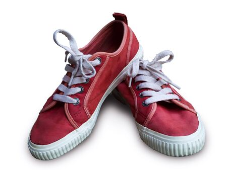 Pair vintage red shoes on white background photo