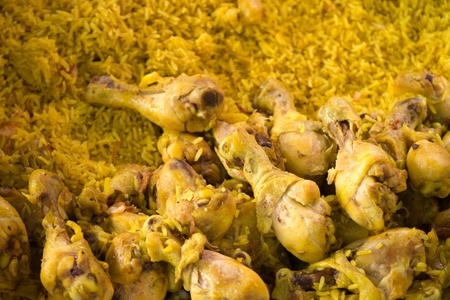 Thai food spiced rice steamed with chicken from market photo